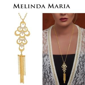 Melinda Maria Gold Tran Fringe Necklace
